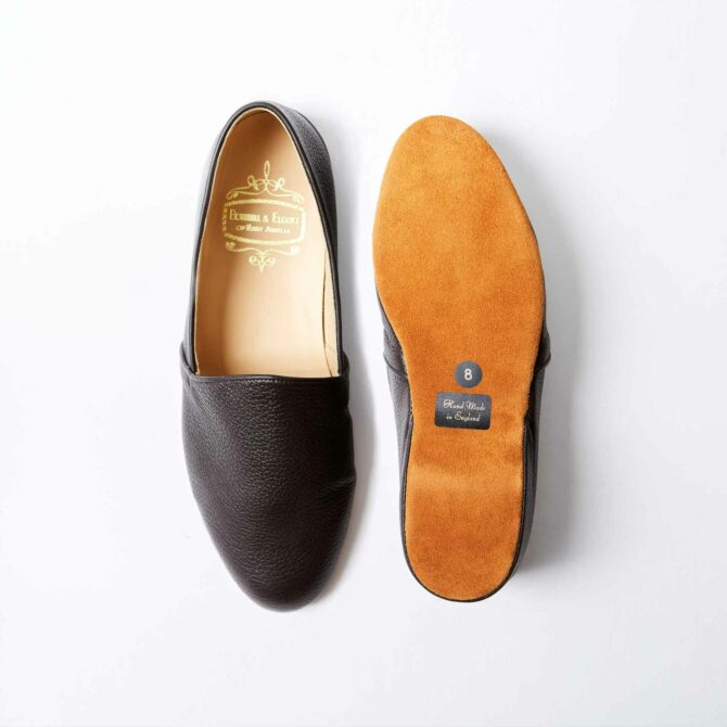 Mocha Brown Deerskin Monk Slippers