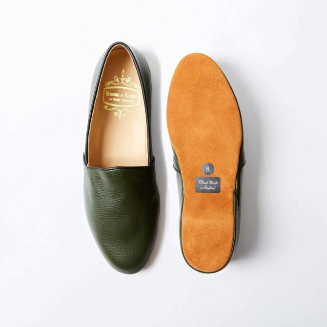 Olive Deerskin Monk Slippers
