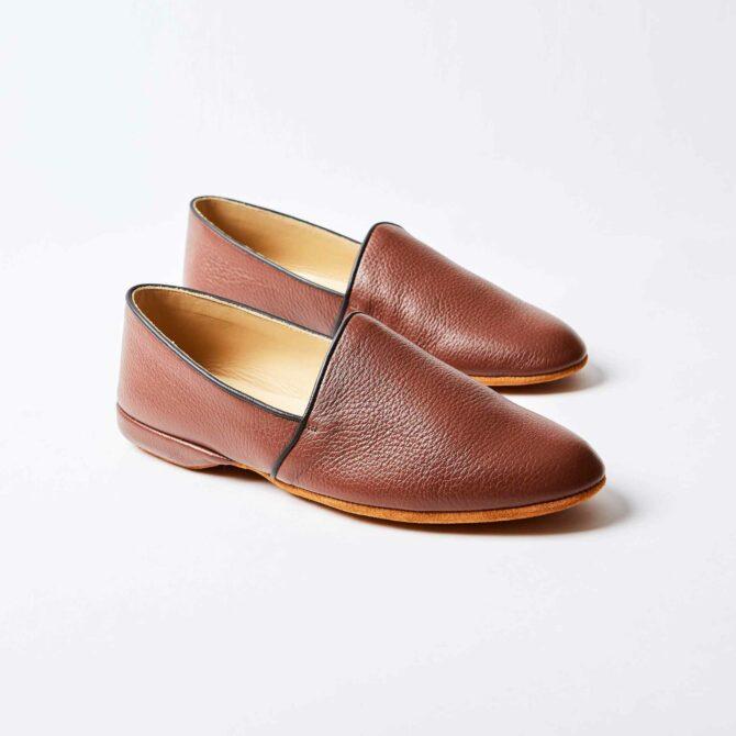 Tan Deerskin Monk Slippers